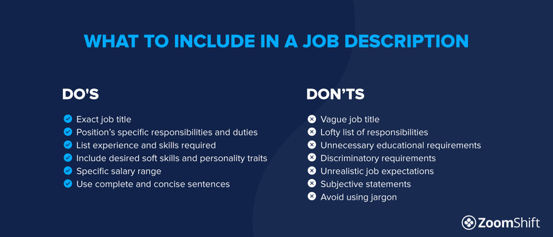 Examples of what to include in a job description