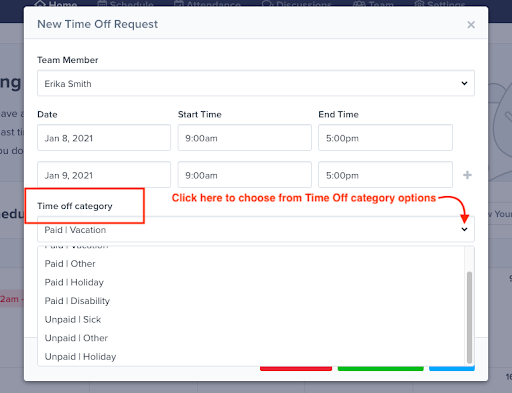 example of pto time tracking with ZoomShift
