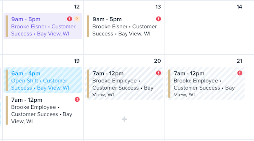 example of ZoomShift scheduling calendar